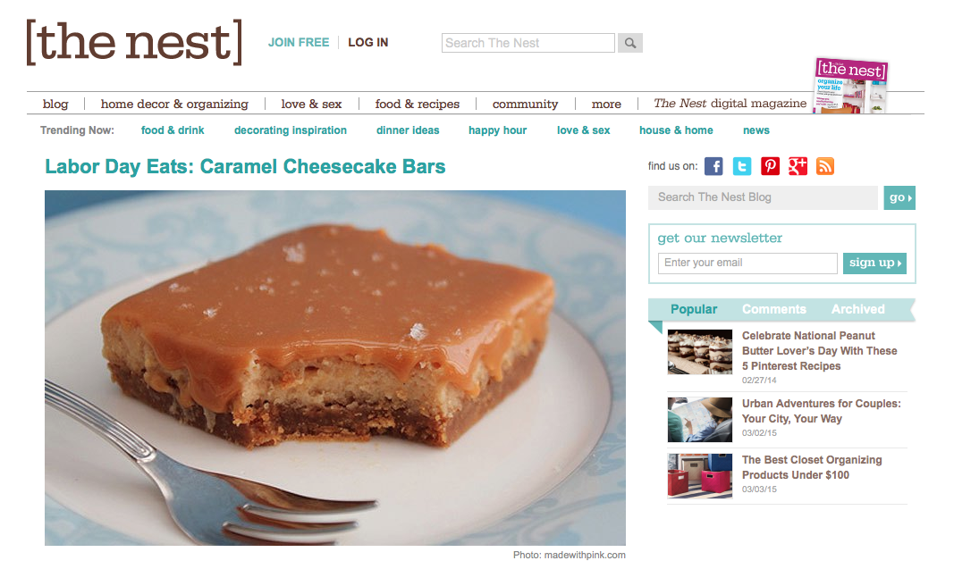 The Nest - Dulce de leche Cheesecake Bars