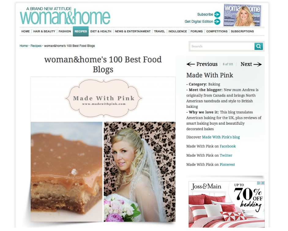 Woman & Home Top 100 Food Blogs