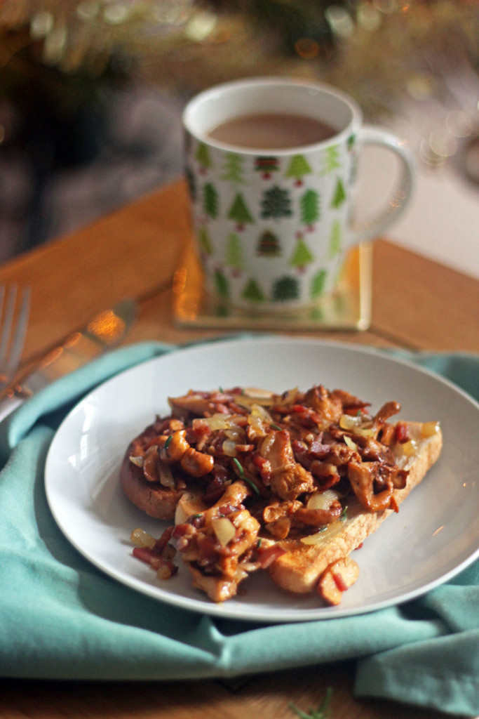 Girolles on Toast with Streaky Bacon