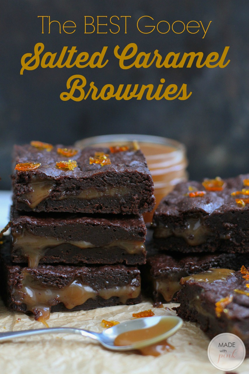 The BEST recipe for gooey Salted Caramel Brownies, topped with burnt caramel crunch.